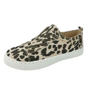 Bamboo Leopard Canvas Laceless Slip On Sneaker 7.5